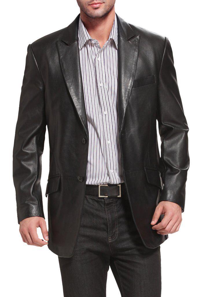 Regular Big /& Tall Short BGSD Mens Grant 2-Button Lambskin Leather Blazer