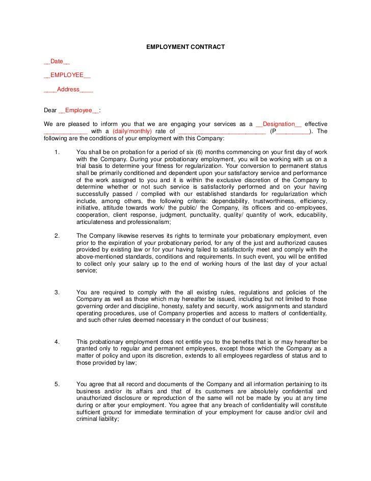 employment contract  date    employee      address    dear