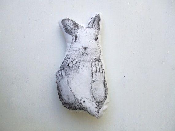white bunny plush cute rabbit soft toy forest home decor door MosMea, €24.00