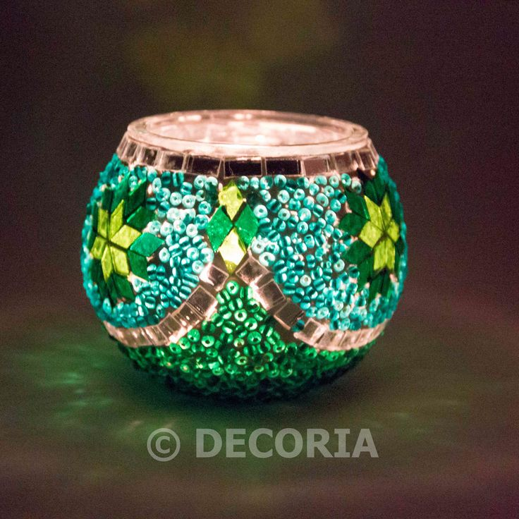 Candle Holder - Green & Turquoise - DECORIA HOME & GIFT
