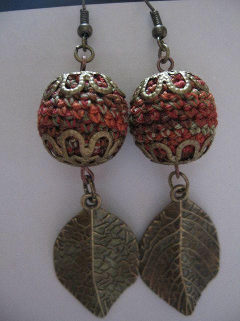 Crochet perline orecchini foglie autunno Spice di AWorldCreated