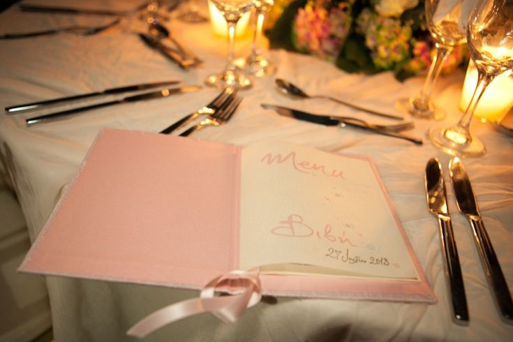 Silk covered Menu Book with hand lettering for your elegant christening reception by Chirography. http://www.mazi-chirography.com/en/for-your-table-details-p21.html
