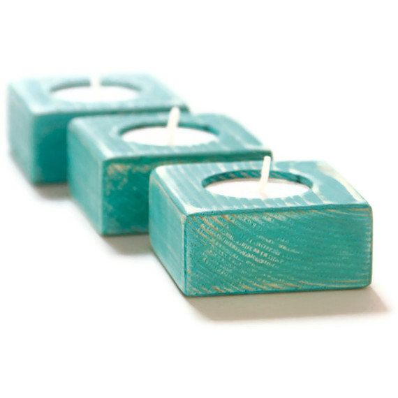 Candle Holders Shabby Chic Teal Wedding wooden Tea Light set of 3 on Etsy, $22.50