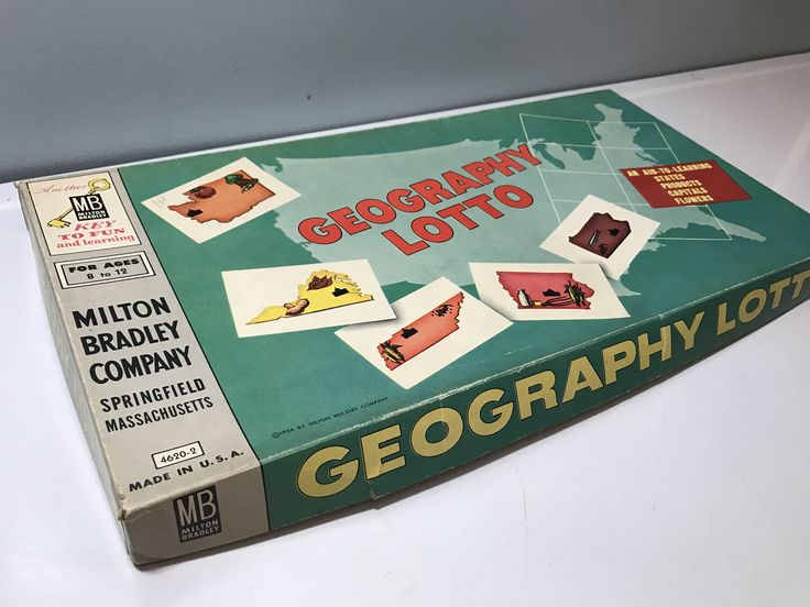 A personal favorite from my Etsy shop https://www.etsy.com/listing/525862996/milton-bradley-geography-lotto-game-new