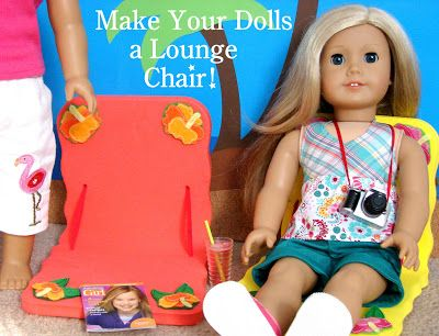 There's nothing better than chillin' in the sun, and American Girl Doll Play shows us how to make a wonderful (thrifty and simple) Fun in the Sun Lounge Chair for our 18 & 21 inch dolls. With summer just around the corner (Hooray!!!), this is the perfect time to surprise our dolls with this project!