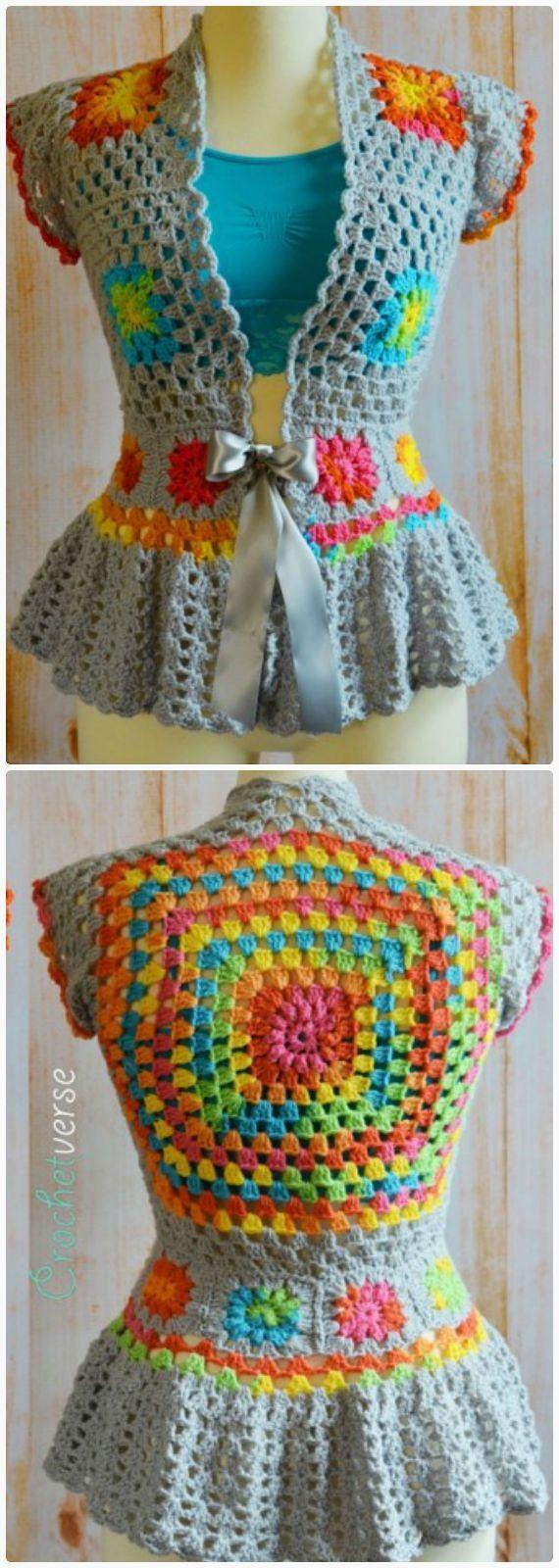 Crochet Garden Party Jacket Free Pattern - Crochet Women Capes & Poncho Free Patterns