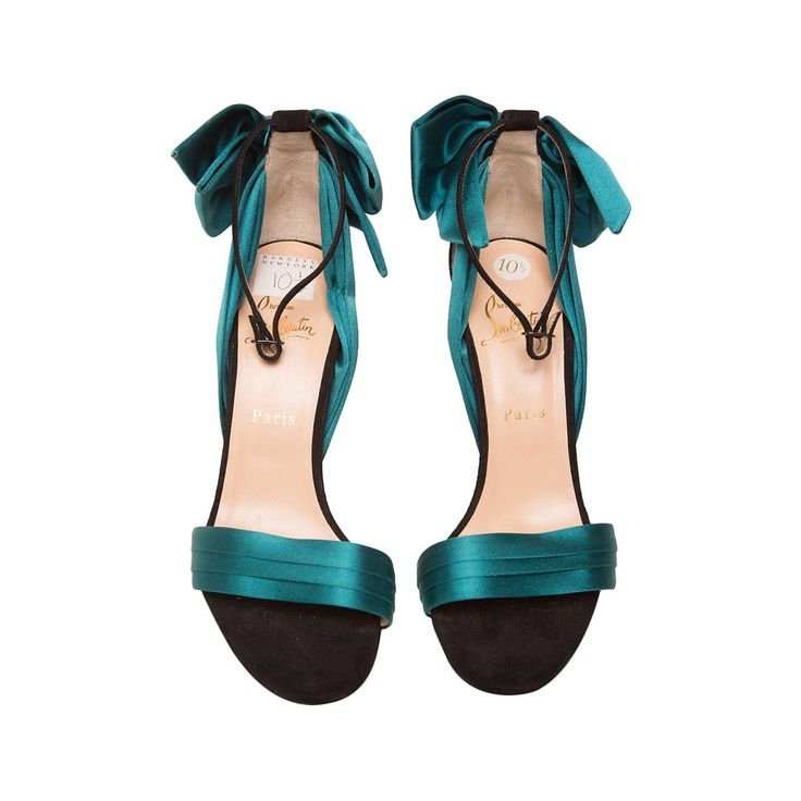 Christian Louboutin Teal High Heel Sandal   From a collection of rare vintage shoes at https://www.1stdibs.com/fashion/accessories/shoes/