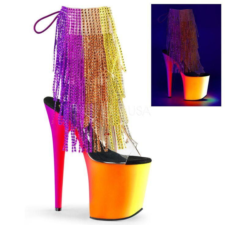 RAINBOW-1017RSF-8-NM   Купить открытые полусапожки стрипы троечки тройки четвёрочки четвёрки с бахромой из разноцветных страз и розово-оранжево-жёлтой цветовой растяжкой на платформе и каблуке, прозрачным голенищем, удобной стелькой, без задника, открытый носок   Обувь для клубных танцев, на пилоне, стриптиза, пол дэнс, проведения промо акций, летние
