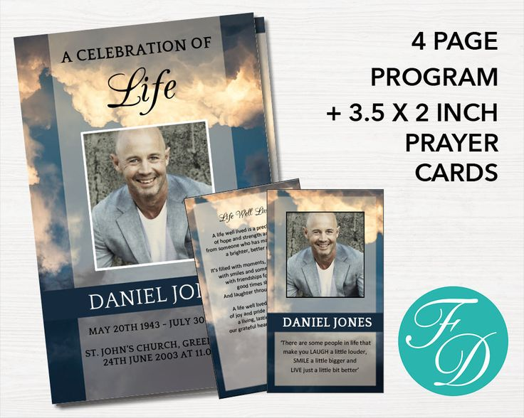 Funeral Program Template Set   4 Page Program Plus Prayer Card, Memorial  Program, Prayer  Funeral Program Word Template