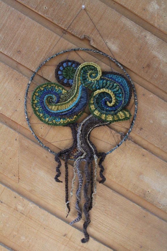 Freeform Crochet Tree Wall Hanging by aMandalaCreations on Etsy