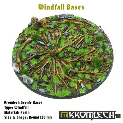 This set contains 1 round 130mm scenic base. Windfall theme.