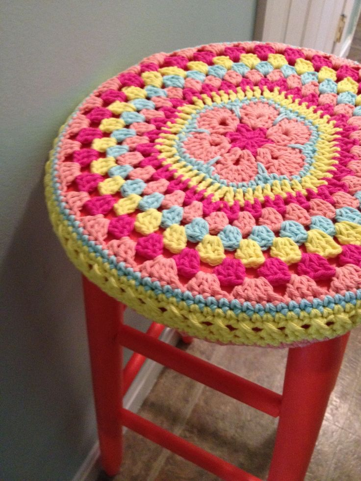 "crochet african flower mandala stool cover and ""gladiola"" paint by sherwin williams."