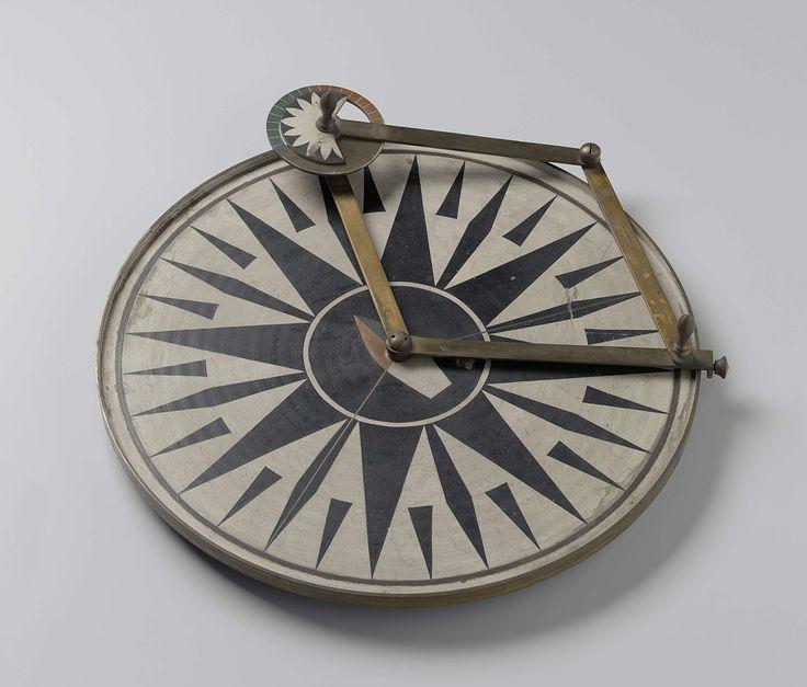 Anonymous | Instructie-instrument, Anonymous, 1850 - 1899 | Grote koperen cirkel op drie pootjes, beschilderd met een windroos. Hierop twee aan elkaar verbonden draaiarmen, de ene schuivend over de rand van de cirkel, de andere voorzien van een kleine cirkel waarop geschilderd een roos. In het middelpunt een bootvorm.