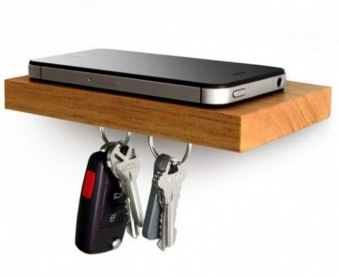 Easy DIY - small floating shelf that can hold your essentials, right at the entrance. Phone, Wallet, Keys. Love it.