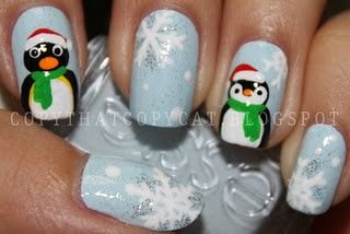 Christmas Penguin Nails-too cute