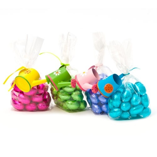These cute brightly coloured watering cans come tied with a cello bag packaged with milk chocolate eggs.  Each chocolate egg is covered in a metallic coloured foil wrapper.  Great Easter gifts for young and old.  £4.99 each, available at the Fuschia boutique at www.fuschiadesigns.co.uk.