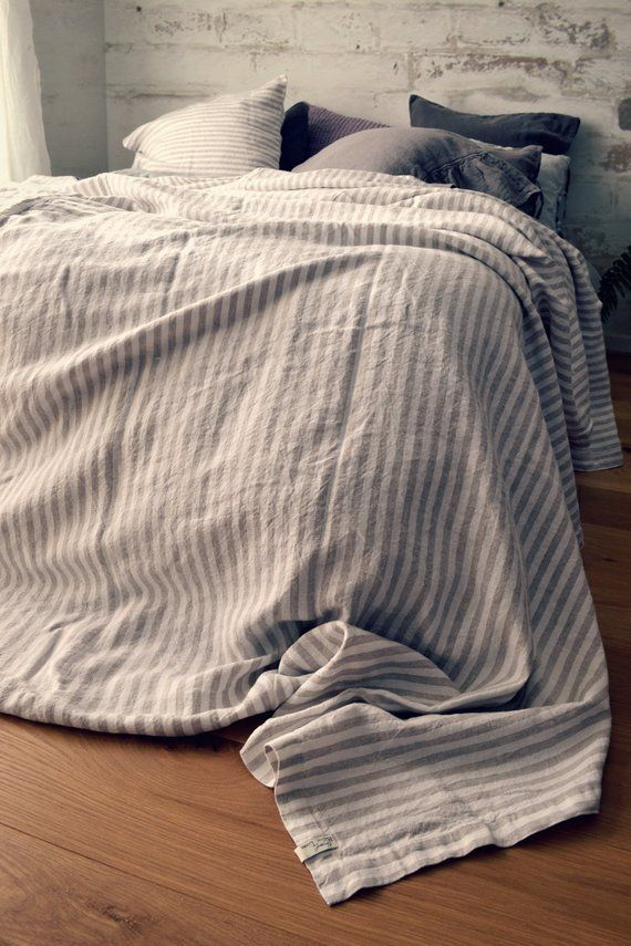 Rustic Pinstriped Heavy Weight Stonewashed Linen Bed Cover