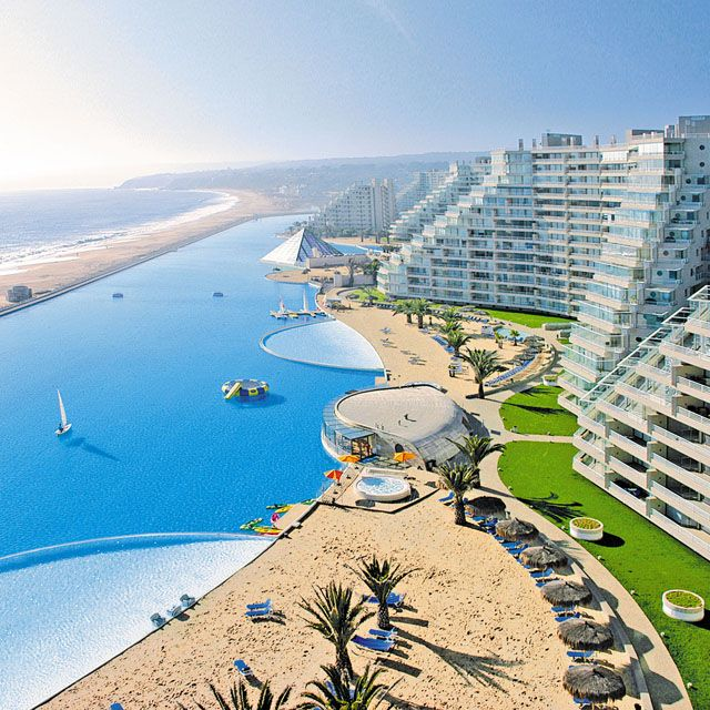 The largest pool in the world - it holds 66 million gallons of water, is more than 3000 feet long, and has a deep end that descends 115 feet. San Alfonso Del Mar Resort, Algarrobo, Chile