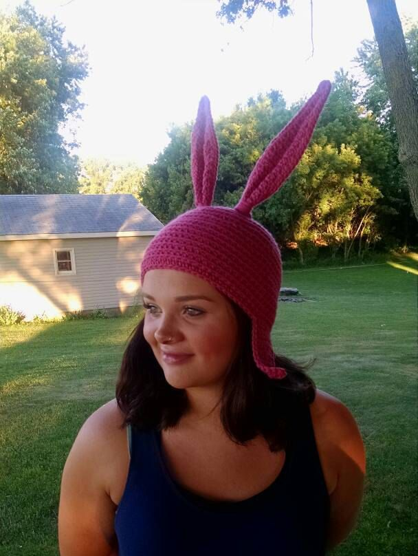 Pink Bunny Ear Hat for Adults by PeacefulSplash on Etsy