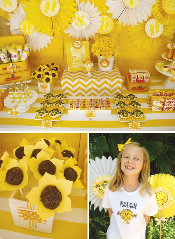 """Cute """"Little Miss Sunshine"""" party.  I can think of one or two girls I would throw this party for..."""
