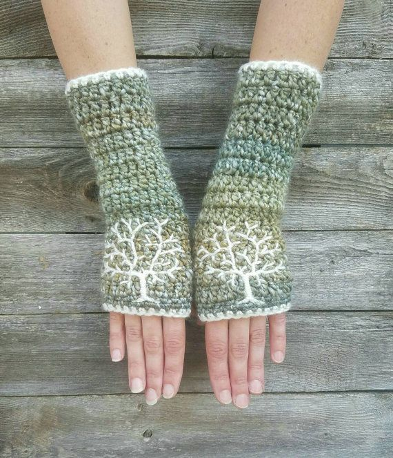 Fingerless Gloves with Tree of Life Embroidery in Green Blue Cream Arm Warmers Embroidered Hippie Boho Bohemian - MADE TO ORDER