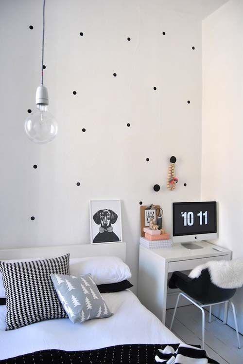 50 Amazing Scandinavian Bedroom Design Ideas - black white polka dot