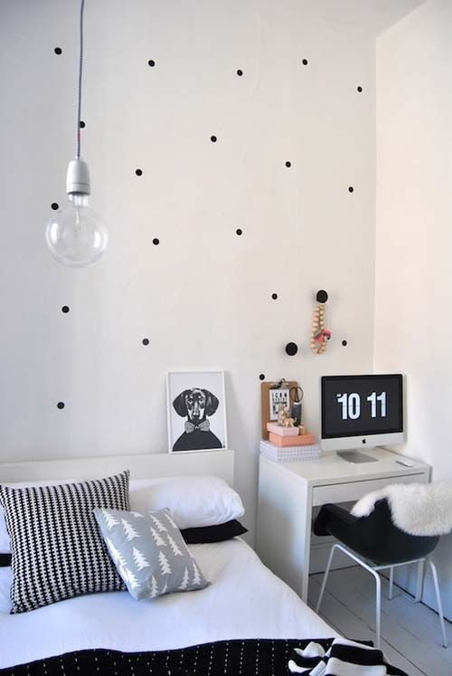 50 Amazing Scandinavian Bedroom Design Ideas - black white polka dot