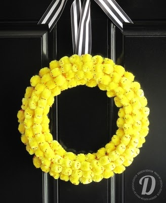 Brilliant chick wreath for Easter! love the yellow with the black and white striped ribbon