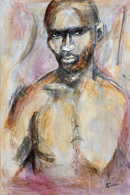 """Contemporary Artists of Arizona: """"Seriously"""", Contemporary Male Portrait in Acrylic by Arizona Artist, Sharon Sieben"""