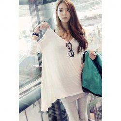 $6.28 Asymmetric Hem Long Sleeve White Cotton Blend T-Shirt For Women