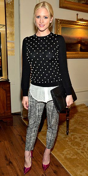 BRITTANY SNOW First, nab an outfit like Brittany's black-and-white trousers, embellished sweater (both Lela Rose) and fuchsia pumps. Then wear it to work and wait for the compliments to roll in.