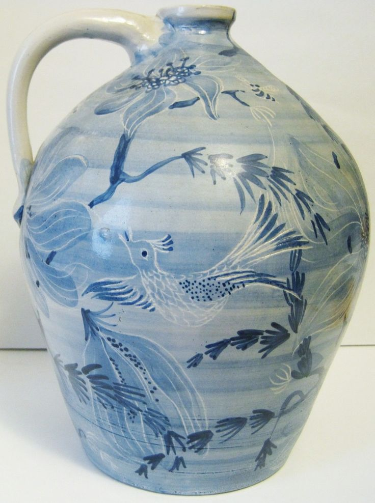 "To price this item and view our other outstanding offerings, we invite you to visit our online store located at http://www.longbrookantiques.com  MAGNIFICENT and MASSIVE DORCHESTER POTTERY FANTASY pattern handled jug artist signed JBC (Jackie B. Callder). This one of a kind and very important American Art Pottery jug measures 11 7/8"" tall and 8"" across at the widest point."
