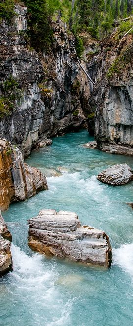 Marble Canyon in Kootenay National Park, British Columbia. Kootenay is one of 6 national parks in the Canadian Rocky Mountains. It is adjacent to Banff and Yoho National Parks.