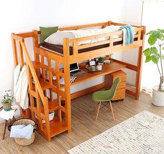 楽天市場】ベッド > ロフト・2段ベッド:BAROCCA(バロッカ) デスク付き木製ロフトベッド[シングル]