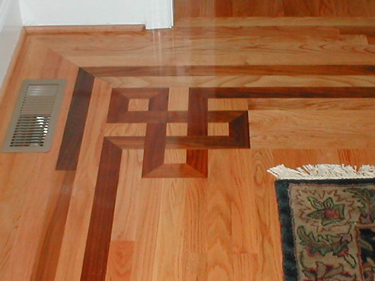 Chic Brown Wood Floor Pattern Design Idea with Creative Dark Brown Borders.  Is this a good way to blend in the foyer