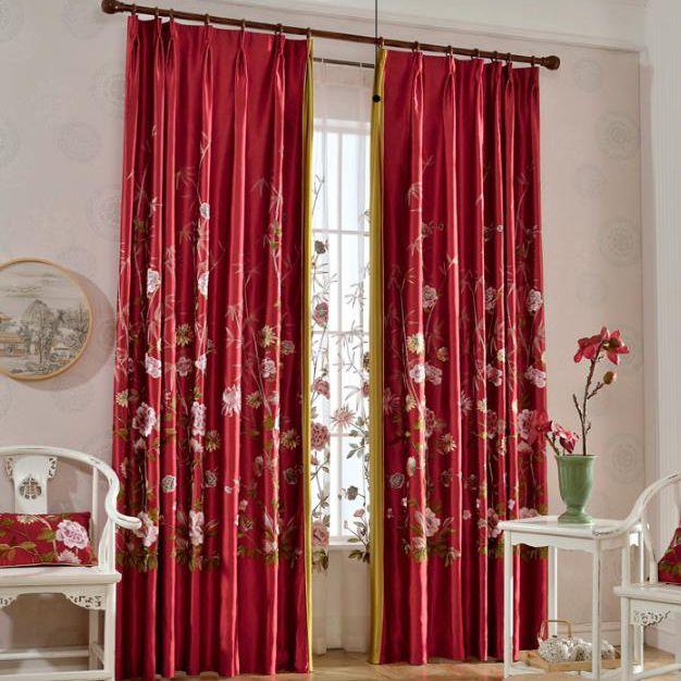 Oriental Red Beautiful Custom Waverly Curtains