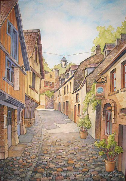 """Город ручной работы. Ярмарка Мастеров - ручная работа Батик """"Старинный французский городок"""". Handmade."""