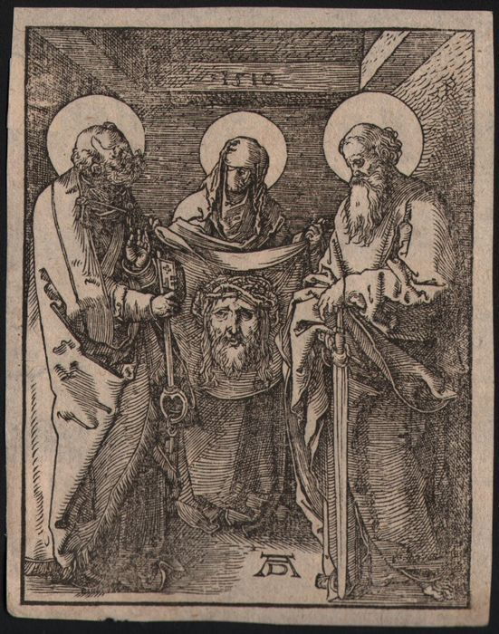 Albrecht Dürer (1471-1528) - St Veronica houden de Zweetdoek - 1510  Afmetingen: 1260 door 970 cmVoorwaarde: In goede conditie zonder plooien tranen of vlekken.Op watermerk laid papier (Zie afbeeldingen).Collectionstamp op de achterkant: gotische P in een cirkel.St Veronica staat in het centrum die holding de Zweetdoek met de indruk van Christs gezicht naar haar kanten zijn St Peter en Paul.Uit de serie kleine passie.Albrecht Dürer de grote Duitse Renaissance kunstenaar die heeft prestaties…