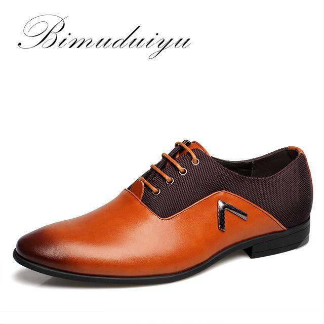Top Sale $35.33, Buy BIMUDUIYU Plus Size 6.5-12 Formal Leather Men Dress Shoes Elegant Design Quality Brand Mens Business Basic Casual Oxfords Shoes