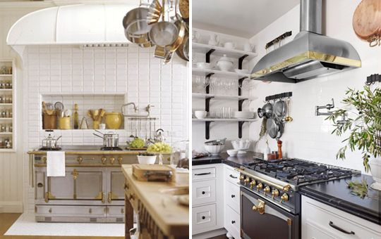 Stainless Steel & Brass Kitchen Hood and Stove