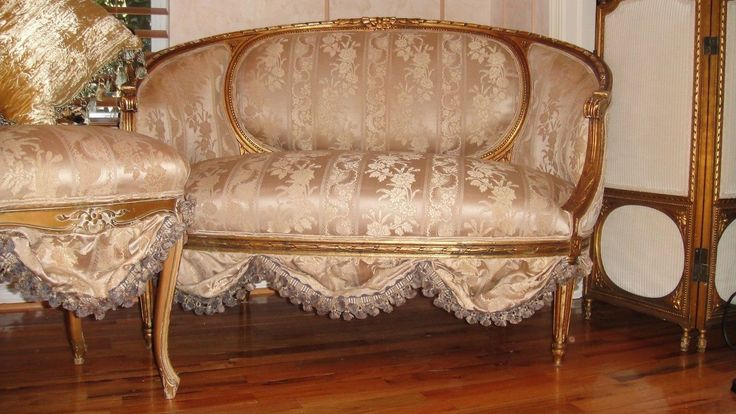 French Antique Settee Sofa Loveseat Circa 1800's Scallops
