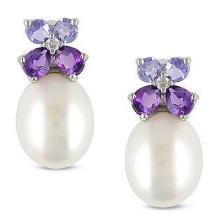 diamonds, pearls and gemstones as jewelry | Miadora Silver Pearl, Multi-gemstone and Diamond Earrings (8-8.5 mm ... #diamondearings