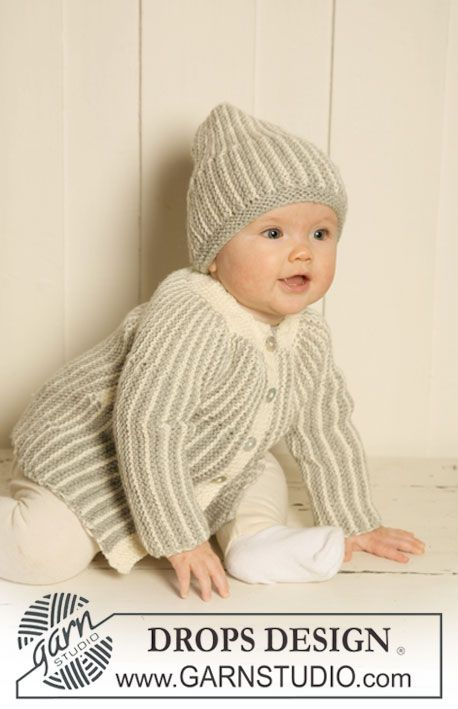 "DROPS jacket and hat knitted from side to side in garter st in ""Merino Extra Fine"". ~ DROPS Design"