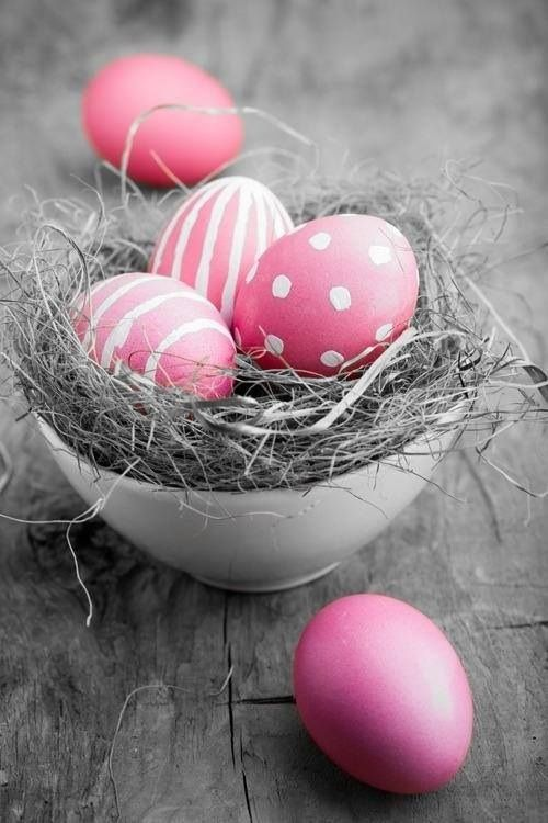Fill a nest with pink Easter eggs. The same color but different designs. | Simply Kierste