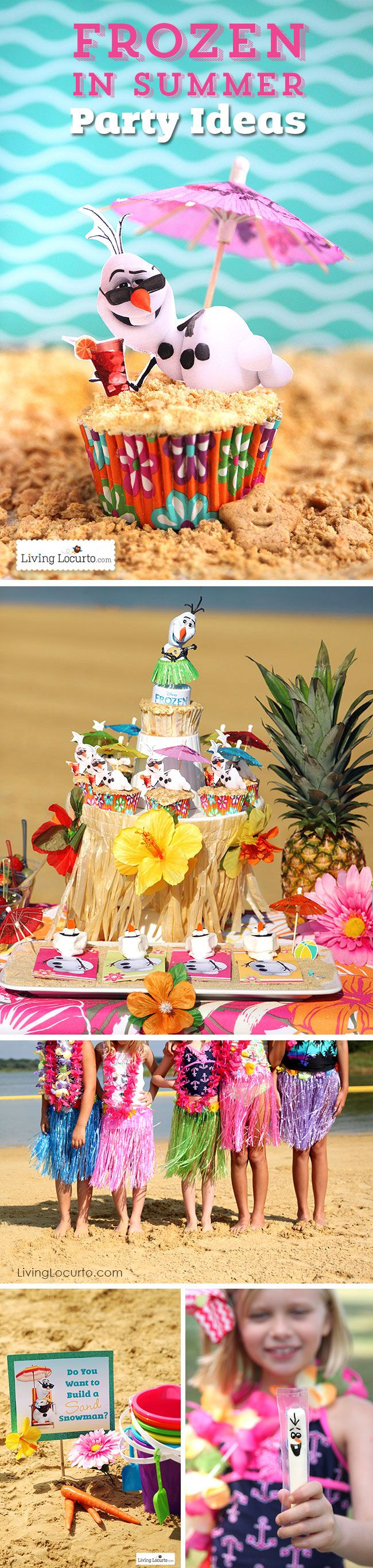 Frozen in Summer Birthday Party Ideas! Themed after the Disney song, Olaf finally gets to enjoy the beach! Fun food ideas, cupcakes, printables and kid games for the beach, luau or pool party. See more at LivingLocurto.com