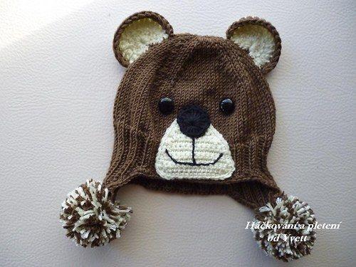 Pletená medvídková ušanka