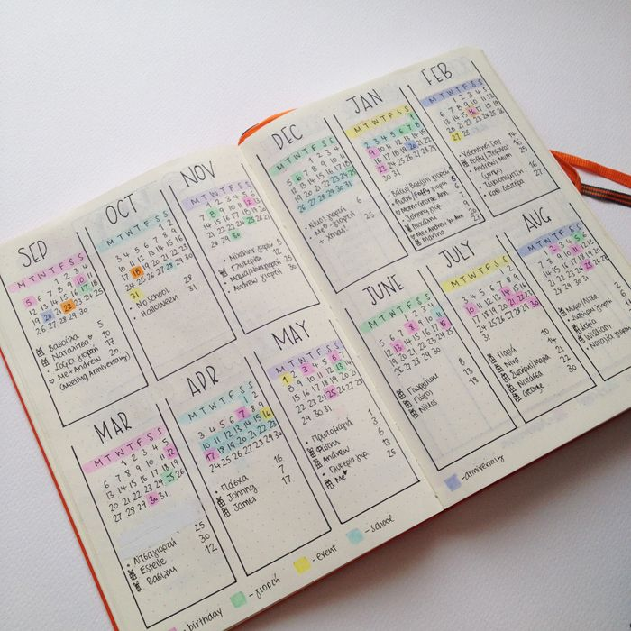 You can find a printable version of this 2 page Calendar for 2018 in my Etsy store >> https://www.etsy.com/listing/557512989/2018-2-page-printable-calendar-yearly  Sharing with you the pages and spreads that I've created in my second bullet journal until now. - www.christina77star.co.uk
