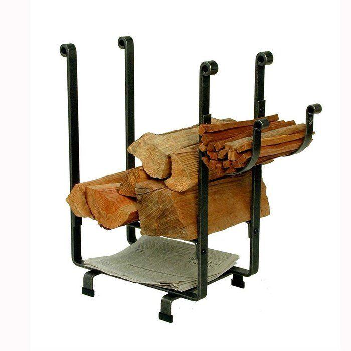 Enclume Rectangular Firewood Rack with Newspaper Rack