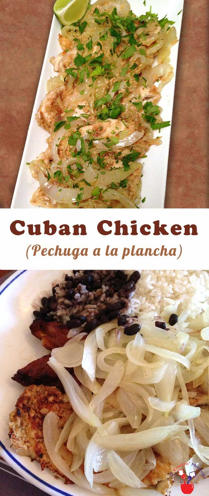 Homemade Cuban Chicken that tastes just like your favorite restaurant's Pechuga a la Plancha! Some lime, cilantro & sauteed onions lend that special flavor. via @2CookinMamas