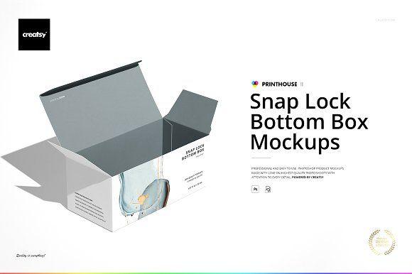 Download Snap Lock Bottom Box Mockup Set In 2020 Box Mockup Snap Lock Mockup
